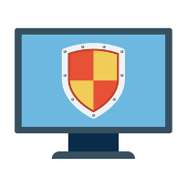 computer monitor with shield background
